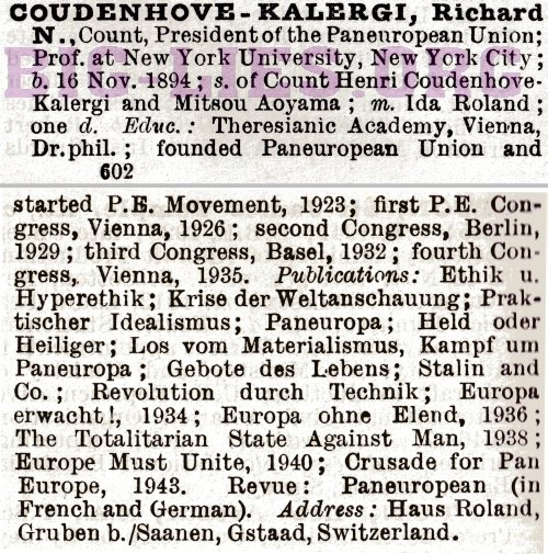 Who's Who 1948 entry for Count Richard Coudenhove-Kalergi