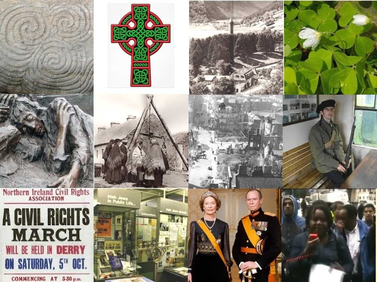 New Grange | Celtic cross | Glendalough | Jews in Ireland | wood sorrel | famine | market day in Connemara | Rising, Dublin debris | black and tan | Northern Ireland Catholic march | Jew museum  in Dublin | orange sash | immigrants Youtube by RealIreland | Scotland | Jacobites | Charlie | Adam Smith | Harry Lauder | Burns